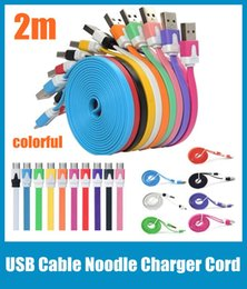 Wholesale I Phone Sync Cable - 2m 6FT V8 Micro Noodle Flat Data Sync USB Charging Cable For i 4 5 Note 3 Samsung S3 S4 HTC One M8 Blackberry LG Cell Phone CAB003