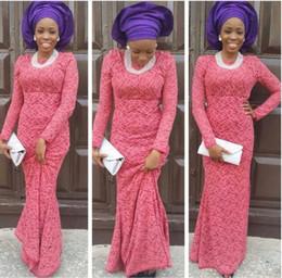 Wholesale Women Fall Shirts - aso ebi Styles Women Evening Dresses 2015 bellanaija weddings Wear Formal Party gowns nigerian lace styles Long Sleeve Evening Dress