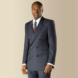 Wholesale Man Made Breast Forms - The New Custom High Quality Custom Made Navy Blue Check Double Breasted Tailored Men Fit Form Suit Jacket + Pants + Tie men Modern Fit