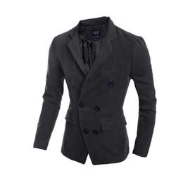 Wholesale L Men Model Hot - 2015 explosion models Hot Spot special for Korean men Slim long paragraph tide fashion double-breasted wool coat