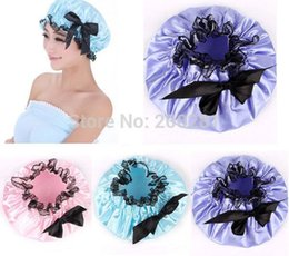 Wholesale Shampoo Women - Women Waterproof Bowknot Bath Shower Cap Adjustable Shampoo Bath Shower Cap Lady Protect Household Accessories
