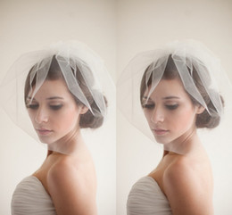 Wholesale Cheap Blusher Veils - New Designer Popular Birdcage Veils Face Short White Wedding Veils Cheap Simple Elaborate Netting Bridal Veils with Ruffles Blusher Veils