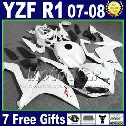 blanco yamaha r1 plastico Rebajas Kit de carenado blanco mate mate para YAMAHA R1 2007 2008 Juego de inyección de plástico 07 08 yzf R1 carenado kits motocicleta 2TH6