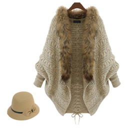 Wholesale Sweater Women Fur - New Fashion Fur Trim Sweater for Women Clothes Winter Loose Sweater Cardigan Europe High-end Lady Bat Sleeve Knit Coat Cape Poncho