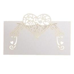 Wholesale Beige Wedding Invitations - 50pcs Laser Cutting Wedding Invitation Paper Table Cards, Elegent Place Name Card Heart Shape Unique Wedding Party Decoration