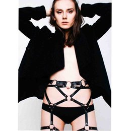 Wholesale harness belt leather women - Wholesale- wholesales fashion gothic body harness designer belts bodsm leather garters women Lingerie accessory from waist to leg
