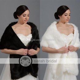 Wholesale Winter White Dress Coats - Cheap 2016 New Ivory Black Faux Fur Wrap Cape Stole Shawl Bridal For Wedding Dress Winter Bolero Coat Shrug Free Size Wrap 17005