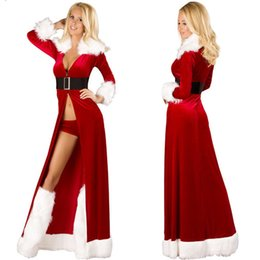 Wholesale Ladies Santa Lingerie - New Hot Sexy Red Christmas Santa Claus Cosplaying Cap Adults Winter Long Dresses Halloween Costumes For Women Lady Sexy Lingerie