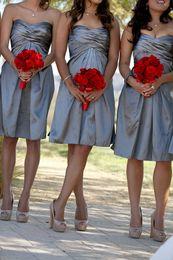 Wholesale Empire Sweetheart Ruffle Wedding Dress - Grey Short Knee Length Bridesmaid Dresses Sweetheart Neckline Empire Sleeveless A Line Wedding Party Gowns Vestios De Festa