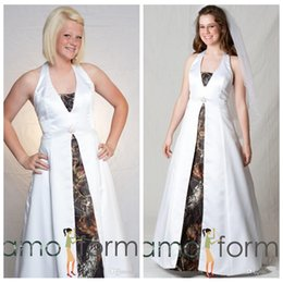 Wholesale Cheap Camouflage Sexy Dresses - New Designers Halter White A-Line Wedding Dresses Sweep Train Lace Up Back 2016 Custom Plus Size Formal Bridal Gowns Cheap Online Camouflage