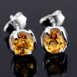 Wholesale Sterling Silver 925 Compact - Flammable volcano 925 silver natural citrine earrings female super compact flash natural crystal earring