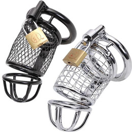 Wholesale Sex Padlock Chastity - 2015 Hot Male Metal Steel Chastity Cock Penis Cage with Ring & Padlock BDSM Chastity Devices Sex Toys for men Black Stainless Color CC097