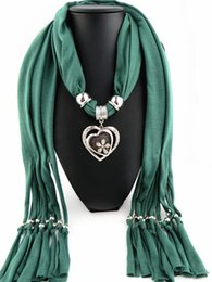 Wholesale Heart Shape Pendant Scarf - Fashion Mix Alloy Pendant Scarf Jewelry Beads Scarves Necklace Scarfs Mixed Shape and Colors Glass Pendant Scarf Jewelry Beads Scarves