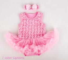 Wholesale Classy Girls - classy Baby girl romper dress 3D rose style w  headband one piece baby dress baby jumpsuit w  tutu skirt baby girl shower dress