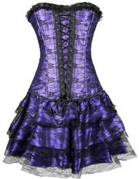 Wholesale Steel Bone Corset Dress - Women's Steel Boned sexy corsets and bustiers costume Overbust Tops Waist Cincher Grand Steampunk Leather Clasp Corset Dress
