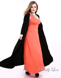 Wholesale Long Duster - Wholesale- Really Love Women's Black Plus Size Duster Cardigan Long Sleeve Maxi Stretchy Duster Jackets Coats Summer Cocktail Party Casual