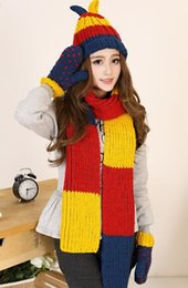 Wholesale Glove Scarf Ear Warmer Set - Wholesale-Cute ear fashion hit color stitching scarves hats gloves three-piece,new warm winter plus thick velvet scarves pieces of sets
