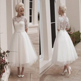 Wholesale Ml Lace Dress White - 2015 Short Wedding Dresses Ball Gown Tulle Tea Length Bateau 1 2 Long Sleeves Lace Appliques Sash House of Mooshki Darla Covered Button ML