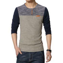 Wholesale New Korean Fashion Trend - Hot 2017 New Spring Fashion Brand O-Neck Slim Fit Long Sleeve T Shirt Men Trend Casual Men T-Shirt Korean T Shirts 4XL 5XL