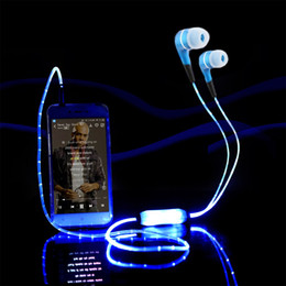 Wholesale Cool Ear Headphones - Luxury Sport Bright Glowing LED Headphone In-Ear handsfree Stereo Cool Glow Flash Light Earbud With Mic With Retail Package For Smartphone