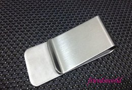 Wholesale Name Card Wallet - Stainless Steel Brass Money Clipper Slim Money Wallet Clip Clamp Card Holder Credit Name Card Holder 200pcs lot