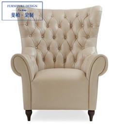 Wholesale Wood Furniture Sofa Chair - Feibo neo-classical post-modern living room furniture custom wood armchair leather sofa lounge chair