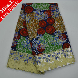 Wholesale High Quality Super Wax - 2017 Guipure Super Wax With Lace High Quality Embroidered Wax Lace Fabric With Stones African Lace Fabric Wax For Clothes