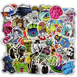 Wholesale Mixed Decals - Mixed 50 Pcs Horror Nausea Bloody Stickers for Graffiti Bike Laptop Fridge Skateboard Funny DIY Sticker Car Styling JDM Decals