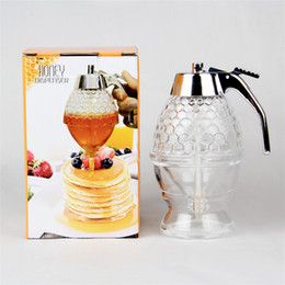 honey bottles wholesale Promo Codes - Transparent Honey Dispenser Plastic Acrylic Fruit Juice Squeeze Bottle Press Type Syrup Jar For Home And Restaurant 17 3tt B