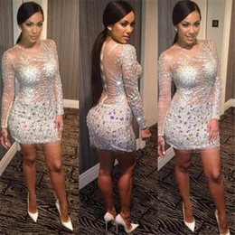 Wholesale Kim Kardashian Long Sleeve Dresses - Bling Kim Kardashian Cocktail Dresses Long Sleeve Sheer Illusion Neckline Sheath Party Dress Sexy Evening Gowns with Silver Sequins Crystal