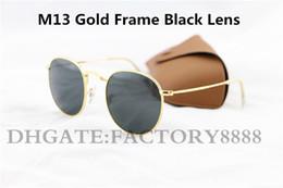 gafas de sol matsuda Rebajas 1 unids moda de alta calidad gafas de sol redondas para mujer del diseñador de las mujeres gafas de sol de metal dorado negro oscuro 50 mm lentes de vidrio mejor caja marrón