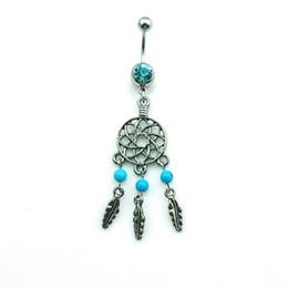 Wholesale Dream Belly - Fashion Belly Button Rings Stainless Steel Barbells Dangle Pierced Dream Catcher Sexy Navel Body Piercing Jewelry