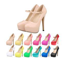 Wholesale Fuchsia Stilettos - 2016 New fashion wedding party women patent leather thin high heels platform stilettos ladies sexy pumps