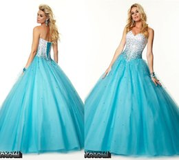 Wholesale Dress Quinceanera Organza Strapless - all Gown 2015 Long Quinceanera Dresses Strapless Sweetheart Bandage Sequin Beaded Tulle Prom Party Gowns 16 Prom Dresses With party Dresses