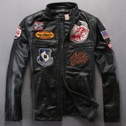 Wholesale Motorcycle Racing Leather Suit - Man Genuine Leather Jacket AVIREX first layer calfskin leather jackets AVIREX AEROMAUTICS multi-standard racing suits motorcycle coats