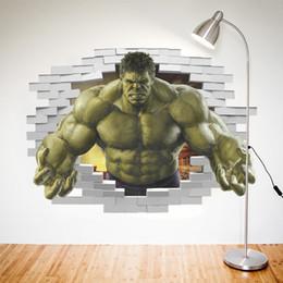 Wholesale Custom Wallpaper Designs - 3D Avengers Photo Wallpaper Custom Hulk Wallpaper Unique Design Bricks Wall Mural Art Room Decor Painting Wall art Kid's room Bedroom Home