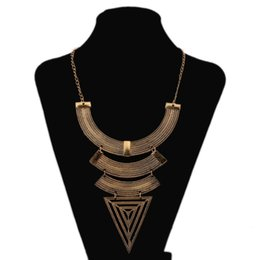 Wholesale Drop Triangle Necklaces - New Fashion Women PUNK Triangle Statement Bib Drop Pendant Necklaces Chokers Collars Jewelry Necklace free shipping