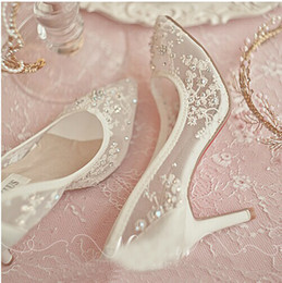 Wholesale Shoes Transparent Rhinestones - Beautiful High Heel Wedding Shoes Lace Rhinestone Spring Bridal Dress Shoes Sexy Hollow Transparent Pointed Toe Prom Formal Dress Shoes
