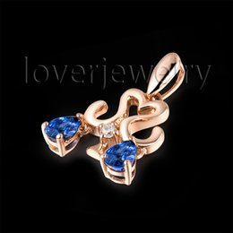 Wholesale Gold Necklaces 18kt - Wholesale-Genuine Bule Sapphire Libra Pendant Solid 18Kt Rose Gold,Natural Diamond Libra Pendant 750 Rose Gold WP086I