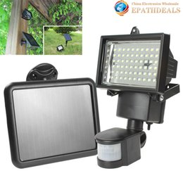 Wholesale Solar Floodlighting - Wholesale-[SALE] Solar Panel Floodlights LED Solar Flood Light Outdoor Security PIR Motion Sensor 60 LEDs Garden Path Wall Emergency Lamp