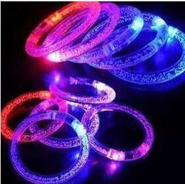 Wholesale Toy Stage Lights - 100pcs LED Flash Blink Blinking Color Changing Light Lamp Party Fluorescence Club Stage Bracelet Bangle 20151220