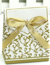 Wholesale Gold Chinese Favor Box - Free shipping 50pcs Gold Ribbon Gift Paper Bags Engagement Anniversary Wedding Party Cake Favour Favor Gift Boxes