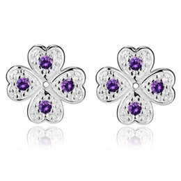 Wholesale Clover Diamond Earrings - Foreign jewelry Plated 925 Silver Earrings New hot spot diamond and Clover AE980- purple, AE981- white, AE982- red