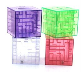 Wholesale Maze Puzzle Box - Free shipping MONEY MAZE coin box puzzle gift game prize saving bank educational toys