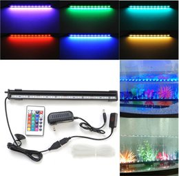 Wholesale Led Bar 18 - 6W 18 Led 46cm RGB Aquarium Light Bar Fish Tank Air Curtain Bubble Light Underwater Submersible Aquarium LED Lamp with Remote 16 31 54 61cm