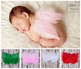 Wholesale Red Ribbon Costumes - newborn photography props baby puffy angel wings costume toddler white pink red feather butterfly wing infant double fairy wings accessories