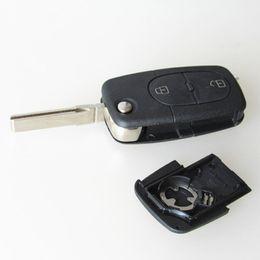 Wholesale Vw Touran Wholesale - 2 Buttons Remote Flip Car Key Cover Round Blank For VW Volkswagen Golf 4 5 6 Passat B5 B6 Polo Bora Touran Key Shell