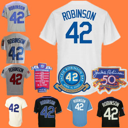 Wholesale Black Hall - Mans 42 Jackie Robinson Black White Collection 1955 Hall Of Fame & Dual Patch 60th Anniversary 2017 WS Patch Brooklyn Jerseys