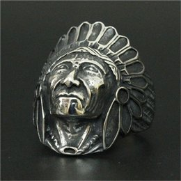 Wholesale Free People Wedding - 1pc Free Fast Shipping New Arrival Indian People Ring 316L Stainless Steel Man Boy Fashion Gothic Style People Look Ring
