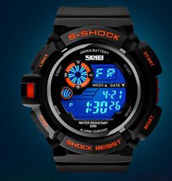 Wholesale Boys Red Waterproof Watches - SKMEI SK0939 0907 men's digital watch, sports digital relogio waterproof swim wristwatch, led military watch, gift watch for men boy